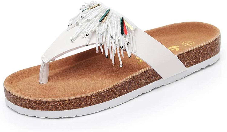 WANGFANG Sandals Thong Sandals, Summer Fashion and Comfortable Beaded Tassel Flip Flops Beach shoes Cork Slippers for Women (Size   US9 EU40 UK7 MX6.5 CN40)