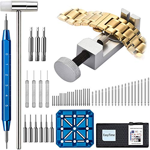 Watch Repair Kit - EasyTime Professional Watch Band Link Removal Tool, Watch Strap Remover Tool Kit, with Spring bar Tool Set, 108PCS Watch Pins for Watch Band Adjustment, Resizing and Replacement