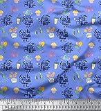 Soimoi Blau Baumwolle Batist Stoff Text & Cupcakes
