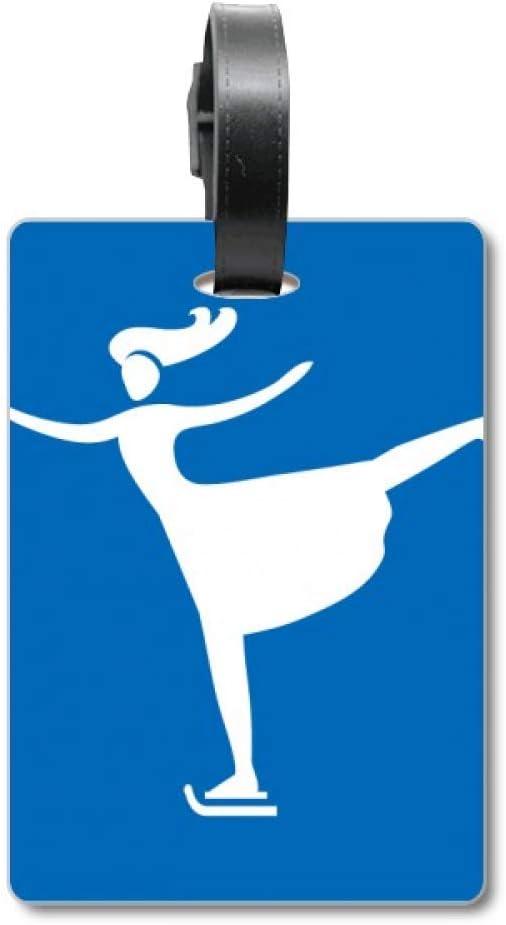 Etiqueta de identificación para Maleta de esquí, diseño de Silueta de Invierno, Color Azul