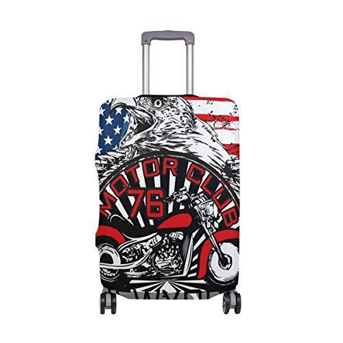 Funda protectora para maleta de viaje con bandera estadounidense de Motor Club, para adulto, mujer, hombre, adolescente, para 18 a 20 pulgadas
