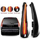 MOSTPLUS LED Tail Lights Rear Compatible for Cadillac Escalade 2007-2014 ESV Rear Lamp Assembly with Red Turn Light (Smoke Tinted)