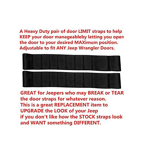 Dual Heavy Duty Strong Adjustable Door Limiting Check Strap Perfect for Jeep Wrangler Black Pack of 2 (2PCS-Black)