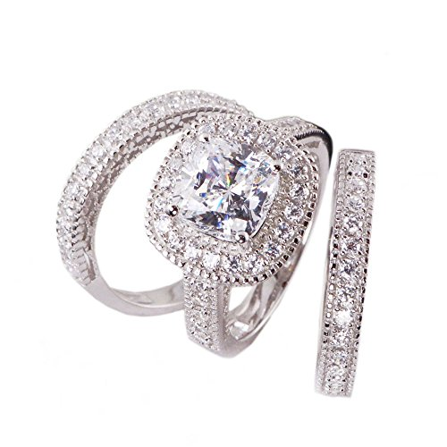 3pc Princess Cushion Cut Cubic Zirconia Halo Bridal Engagement Wedding Ring Set .925 Sterling Silver Size 5,6,7,8,9,10