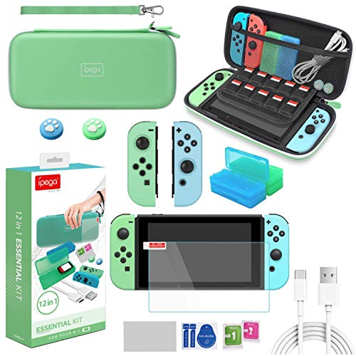 FANPL Switch Accessories Bundle, 12 in 1 Accessories kit for Nintendo Switch with Carrying Case, Silicone protective case for Joy-Con, Screen Protector, Game Storage Case, Thumb Grip Cap, USB C Cable