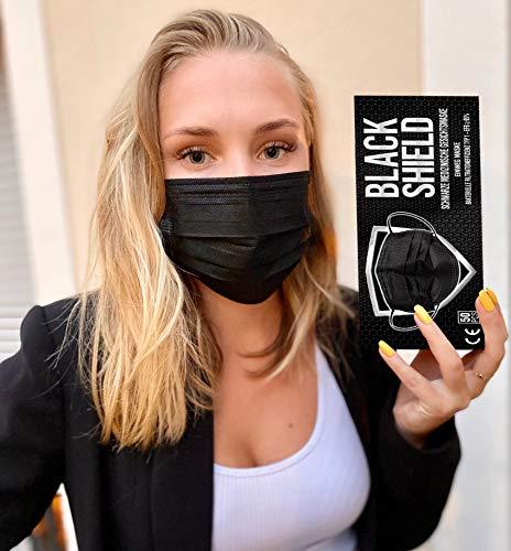 BLACK SHIELD - 50 Stück - Schwarze Medizinische Gesichtsmaske gemäß DIN EN 14683 Typ I - BFE ≥ 95% - CE Zertifiziert