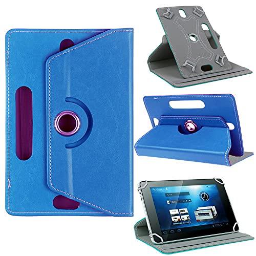 Funda universal para tablet de 10 pulgadas, con soporte universal para Tab de 10', rotación de 360 grados, varios ángulos de visión, efecto piel, color azul claro