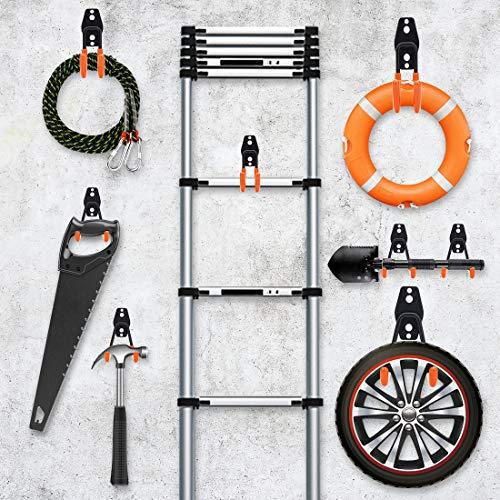 Tompig Garage Hook, 13 Pack Garage Bike Hook Steel Wall Hooks Heavy Duty, Wall Mount Garage Storage Hooks with Anti-Slip Coating Storage Hooks for Tools, Ladder, Utility, Bike Hooks (Orange)