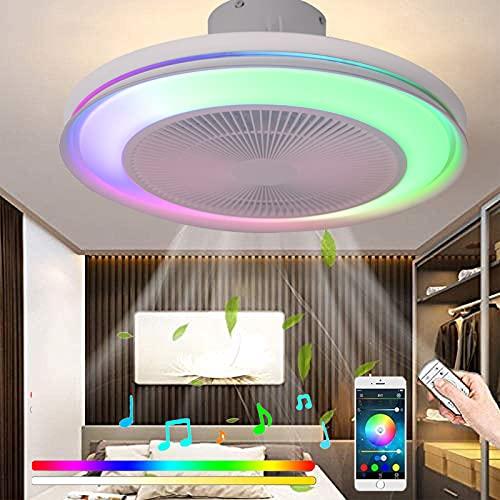 RGB Cambios de Color Lámpara LED de Techo Regulable Música Ventilador de Techo con Iluminación und Mando a Distancia Silencioso Ventiladors Plafón con Altavoz Bluetooth para Dormitorio Fan Luces 72W