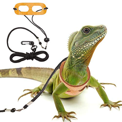 Mihachi Adjustable Bearded Dragon Harness Soft Leather Reptile Lizard Leash for Small to Medium Amphibians and Other Small Pet Animals