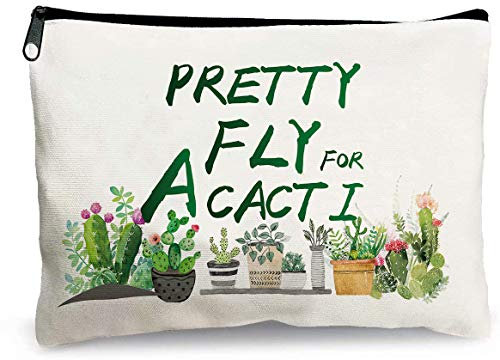 First Spring, Cactus Gift for Women,Cactus Gift, Cactus Decor Cosmetic Bag, Bachelorette Gifts, Succulent Plant Gift, Grab Bag Gifts for Adults, Plant Lover Gifts, Canvas Bag 9.8 x 7.8 Inch