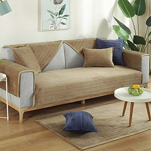 Fundas de sofá 1 2 3 4 Protector de funda antideslizante Funda de sofá,protector de muebles/fundas para perros/gatos (1 2 3 4 asiento),Funda de cojín de sofá grueso de invierno,café oscuro,70X70cm