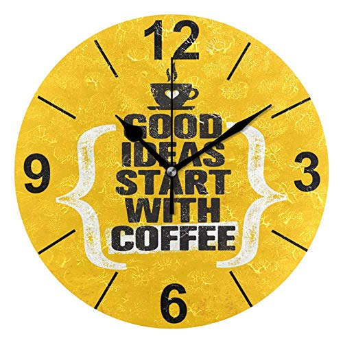 Amazon Com Alaza Good Ideas Start With Coffee Round Acrylic Wall Clock Silent Non Ticking Oil Painting Home Office School Decorative Clock Art Home Kitchen