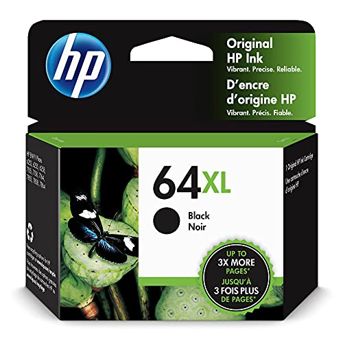 Original HP 64XL Black High-yield Ink Cartridge | Works with HP ENVY Photo 6200, 7100, 7800 Series | Eligible for Instant Ink | N9J92AN