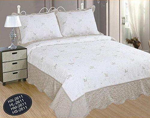 ForenTex Tagesdecke für Bett mit 150 cm Bestickt, Blumenstil, mit Rüschen, 2 Kissenbezügen, Ref. HL-2611, Perlgrau, 250 x 260 cm