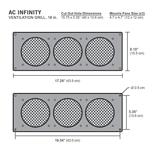 """AC Infinity Black Ventilation Grille 18"""", for PC Computer AV Electronic Cabinets, Also mounts Three 120mm Fans"""