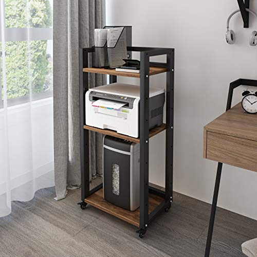 Natwind 3-Tier Movable Floor-Standing Printer Stand Shredder Stand Adjustable Storage Rack with Wheels Computer Host Stand Office Appliances Storage Shelf for Fax Scanner Files Books Stationery(Retro)