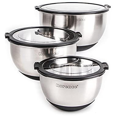 Rorence Stainless Steel Non-slip Mixing Bowls Set of 3 with Transparent Lids - Black
