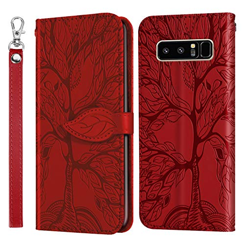 DERX010166 - Funda de piel tipo cartera para Samsung Galaxy Note 8 (función atril, cierre magnético, tarjetero), color rojo