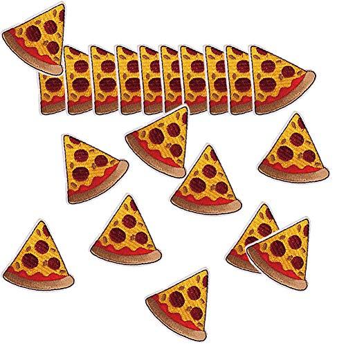 Haodou 20 Piezas Bordado Parches Paño Cocotero Fruta Pequeño Parche Pegatinas Ropa Accesorios Sombrero Accesorios (Pizza)