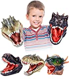 Geyiie Hand Puppets Toys, Dinosaur Hand Puppets for Kids, Realistic Latex Tyrannosaurus Rex,Velociraptor, Stygimoloch Dino Puppets Toy Gift for Kids Boys Girls Aged 3 4 5 6 7 8 (3 Pack)