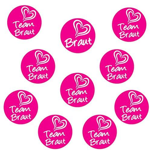 Oblique Unique® 1 x Braut & 9 x Team Braut Sticker für Junggesellenabschied I Hochzeit I Anstecker