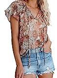 Dokotoo Womens Cute Floral Printed Plus Size Chiffon Blouses V Neck Short Sleeve Flowy Shirts Summer Bohemian Tops X-Large Khaki