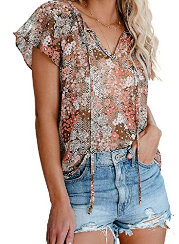 Dokotoo Womens Fashion 2021 Floral Printed V Neck Tie Top Boho Short Sleeve Blouses Juniors Loose Chiffon Shirts Large Khaki