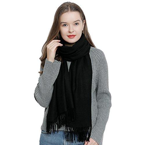 Bufanda de invierno grande para mujer 185 x 65 cm liso suave y cálido - negro