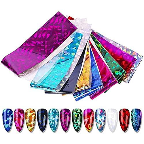 Liunian459 DIY Nagelsticker Selbstklebend Sternenhimmel 3D Traum wasserdichte Sommer Nagel Stickers Bunte Modern Nagel Aufkleber Set 12pcs