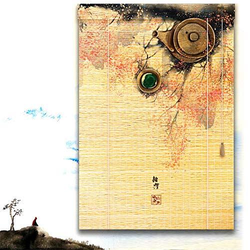 JIAJUAN Persiana Estores De Bambú Enrollable Ventanas 3D Diseño Intimidad Persiana De La Ventana Filtrado De Luz Sombrilla Enrollar Sombras para Sala Dormitorio Cocina (Color : A, Size : 90X220CM)
