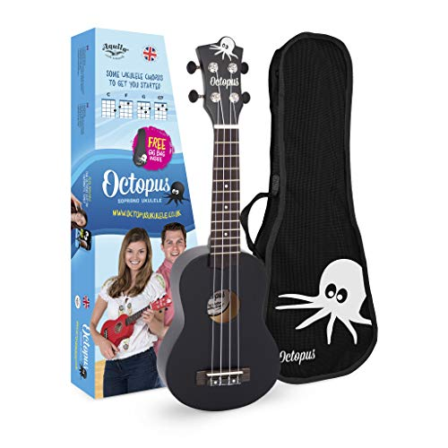 Octopus Ukulele UK200D-BK - Ukelele soprano, color negro mate