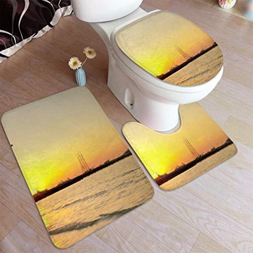 Gpedadf13 Badezimmerteppich, Dubai Vereinigte Arabische Emirate 3. Januar Burj Al rutschfeste Badezimmermatte, u-förmige Toilettenmatte Duschbodenmatte Toilettenbezug, für Badewanne, Dusche, Badezi