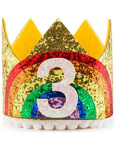 Coucoland 1e Verjaardag Kroon Hoofdband Glitter Regenboog Kroon Hoed voor Baby Meisjes Jongens Prinses Haarband Baby Meisje Bloem Delicate Haaraccessoires Kroon Party Hoeden 3rd