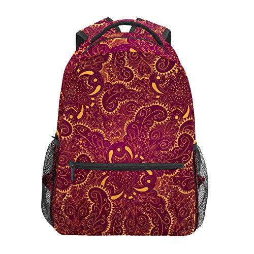 Mochila escolar vintage árabe de encaje dorado vino rojo patrón casual viaje portátil mochila de lona para mujeres niñas niños estudiantes adultos hombres