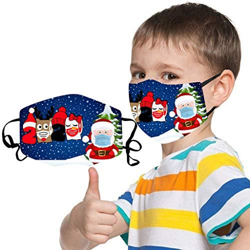 Lialbert - Protector bucal infantil lavable con diseño de Navidad, bandana divertida, pañuelo multifunción para niños y niñas, transpirable, de algodón, para la boca y la nariz C1 Talla única