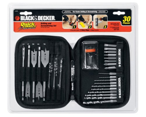 BLACK+DECKER Drill Bit Set / Screwdriver Set, Quick Connect, 30-Piece (71973)