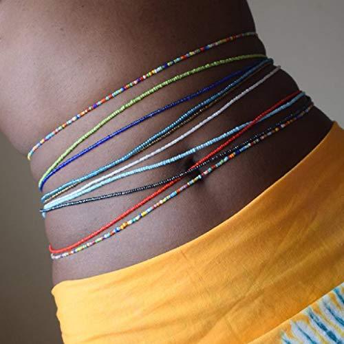 Fashband Taillen-Perlenketten-Set, Boho-Körperkette, bunt, sexy, elastisch, Bauch-Perlenkette, afrikanischer Sommer, Strand, Bikini-Schmuck für Frauen