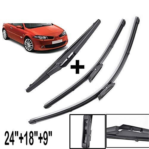 HZHAOWEI Voorruit Ruitenwisserbladen Set, Voor Renault Megane MK 2 II 2006 2007 2008 Voor Achter Ruitenwisser Hatchback Coupe