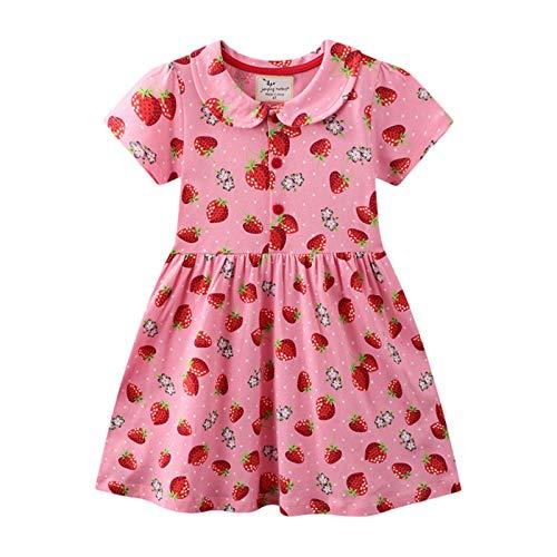 Vestito Bambina Cotone Organico, Vestito T-Shirt Manica Lunga & Manica Corta Ricamo Floral Striscia Cartoon Animale Casuale Vestito Unicorno Bambina Abito Bimba Carina • 3-4 Anni