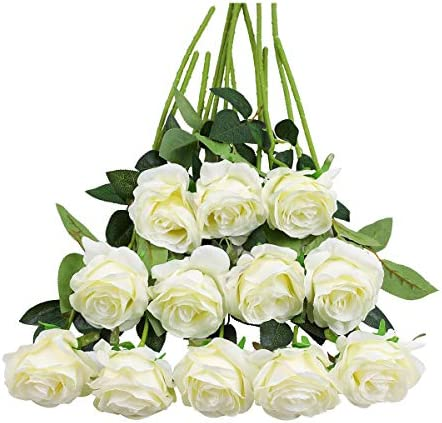 Tifuly 12PCS Rose Artificial Flower, Single Stem Fake Floral Bridal Wedding Bouquet, Realistic Blossom Flora for Home Garden Party Hotel Office Decorations (Off White)