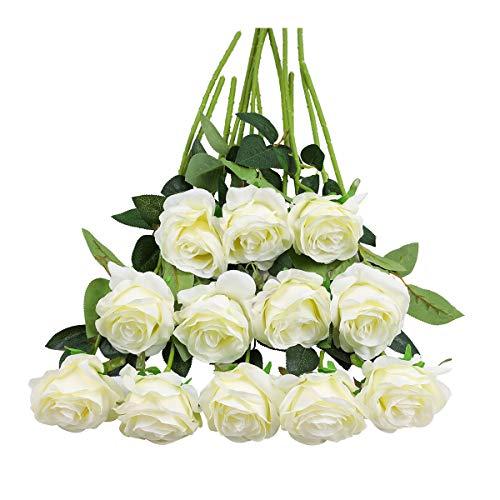 Tifuly 12 PCS Künstliche Rosen, 19,68 \'\' Single Long Stem Fake Rose Seide Braut Hochzeitsstrauß Realistische Blume für Hausgarten Party Hotel Büro Dekor (Blossom Roses, Weiß)