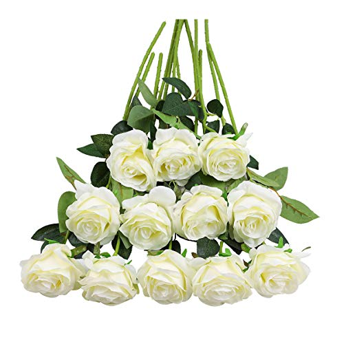 Tifuly 12 PCS Rosas Artificiales, Realista Largo Tallo Falso Rosa Seda