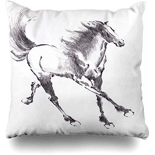 Not applicable Funda de Almohada de Tiro Art Acuarela Running Horse Artístico Asian Black Hooves Ink Decoración para el hogar Funda de Almohada Funda de cojín Decorativo de 18 'x18'