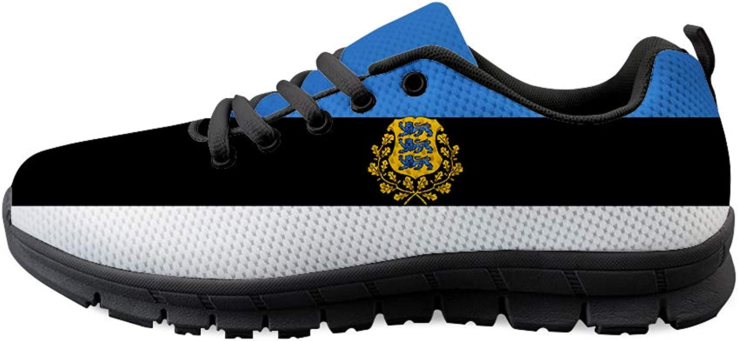 Owaheson Lace-up Sneaker Training shoes Mens Womens Estonia Flag National Emblem