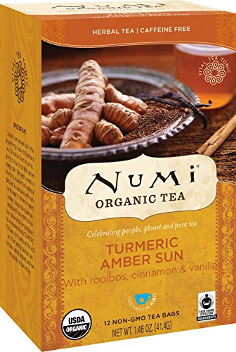 Numi Organic Tea Amber Sun, 12 Count Box of Tea Bags, Turmeric Tea (Packaging May Vary)