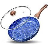 MICHELANGELO Padella 20CM con coperchio, padella in pietra ultra antiaderente con interno in pietra, padelle antiaderenti, padella in granito, padelle antiaderenti, 20cm