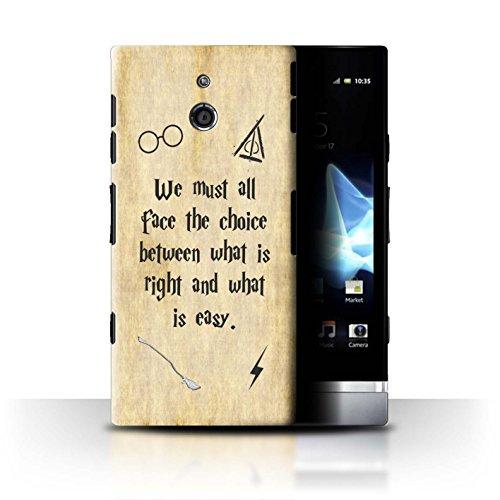 Hülle Für Sony Xperia P/LT22i Schule der Magie Film Zitate Right & Easy Design Transparent Ultra Dünn Klar Hart Schutz Handyhülle Case