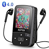 Bluetooth Clip 8GB MP3 Player with FM Radio & Voice Recorder,Expended up to 64GB, Lossless Sound Portable Music Player for Sport,AGPTEK A50,Black