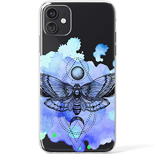 Mertak Clear Case Compatible with iPhone 12 Pro Max Mini 11 SE 10 Xr Xs 8 Plus 7 6s 5s Watercolor Flexible Lightweight Deaths Head Moth Silicone Protective TPU Cover Slim Gothic Design Insect Art